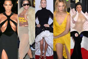 """NAJGORSZE stylizacje lutego: półnaga Kim Kardashian, wulgarny EJ Johnson i """"inspirowana"""" Ciarą kreacja Gosi Rozenek (ZDJĘCIA)"""
