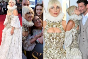 """Lady Gaga przenosi się w czasie do epoki elżbietańskiej na premierze """"Narodzin Gwiazdy"""" (ZDJĘCIA)"""