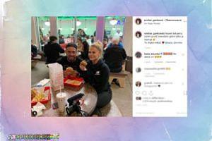 Dziurska z chłopakiem opychają się fast foodami