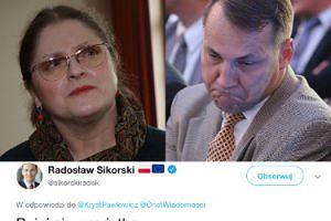 """Poirytowany Radosław Sikorski czule pozdrawia Krystynę Pawłowicz: """"BUJAJ SIĘ, WARIATKO"""""""