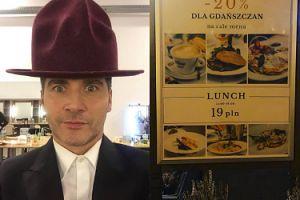 Tomasz Kammel oburzony promocją w gdańskiej restauracji. Internauci go wyśmiali... (FOTO)