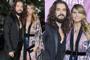 Dumna Heidi Klum pozuje z ukochanym gitarzystą Tokio Hotel na paryskiej gali amfAR (ZDJĘCIA)