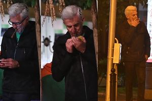 Urbański rozkoszuje się cygarem na samotnym spacerze