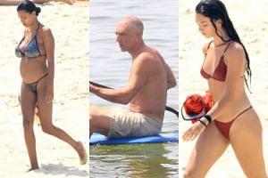 Vincent Cassel wiosłuje smutno na wakacjach z ciężarną żoną i nastoletnią córką (FOTO)