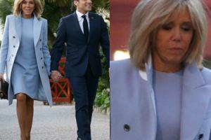 Odsłonięte nogi smutnej Brigitte Macron witają parę prezydencką Chin (ZDJĘCIA)