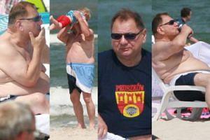 Ryszard Kalisz z energetykiem i papierosem smaży się na plaży (ZDJĘCIA)