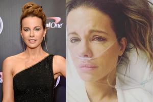 """Kate Beckinsale pozuje w szpitalnym łóżku: """"Pęknięta torbiel jajnika naprawdę boli. Wolałam powiedzieć, co się stało"""""""