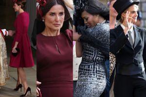 Ślub księżniczki Eugenii: kapelusz Naomi Campbell walczy z wiatrem, Cara Delevingne we fraku i ciężarna Pippa Middleton (ZDJĘCIA)