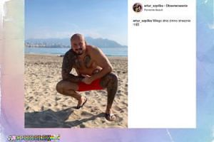 Artur Szpilka marznie na plaży