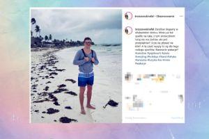 Brzozowski spaceruje po plaży w Zanzibarze