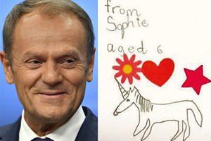 """Donald Tusk chwali się listem od sześciolatki z Wielkiej Brytanii: """"Narysowałam panu jednorożca"""""""