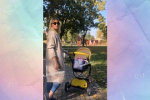 Odeta Moro z wózeczkiem łapie promienie słoneczne