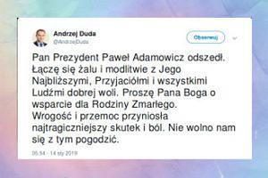 Andrzej Duda reaguje na śmierć Pawła Adamowicza