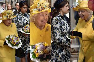 Żółta niczym wielkanocny kurczaczek królowa Elżbieta rozdaje jałmużnę w towarzystwie wnuczki Eugenii