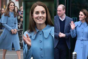 """Księżna Kate w płaszczu za 9 tysięcy złotych żartuje z kolejnej ciąży. """"William byłby niepocieszony"""" (FOTO)"""