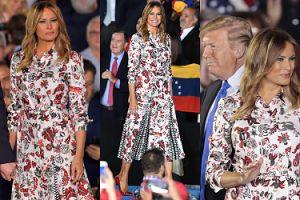Sztywna Melania Trump przemawia na apelu ubrana w pstrokatą sukienkę za 10 tysięcy złotych (FOTO)