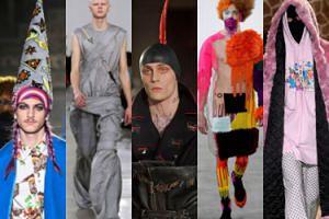 Tak wygląda tydzień mody męskiej 2019: wędkarskie kapelutki, męskie suknie i czepki z pióropuszami (ZDJĘCIA)