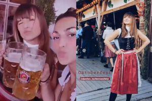 Anna Lewandowska w bawarskim stroju delektuje się zimnym piwkiem na Oktoberfest