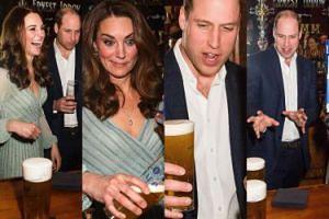 Księżna Kate szaleje za barem, książe William pozuje z browarem (ZDJĘCIA)