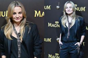 Uśmiechnięta Małgorzata Socha w czerni na pokazie mody