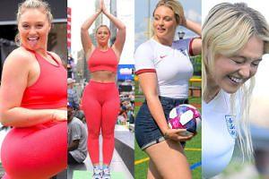 Żądna uwagi Iskra Lawrence uprawia jogę na ulicy i odbija piłkę głową (ZDJĘCIA)