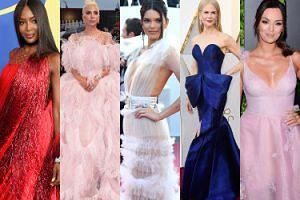 Zobaczcie NAJPIĘKNIEJSZE kreacje z czerwonych dywanów w 2018 roku: Campbell, Gaga, Jenner, Kidman, Krupińska... (ZDJĘCIA)