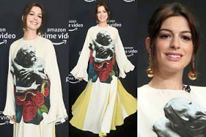 Ciężarna Anne Hathaway ukrywa brzuszek pod luźną kreacją od Valentino (ZDJĘCIA)