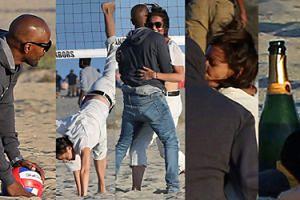 Miłość, szampan i plaża: Katie Holmes z Jamie Foxxem w piasku się tarza (ZDJĘCIA)