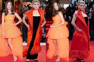 Julia Wieniawa na ramówce Polsatu czy Catherine Deneuve w Wenecji? Która wyglądała lepiej w pomarańczowym? (ZDJĘCIA)