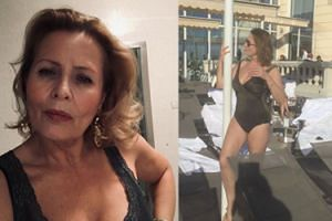 """65-letnia Szapołowska pozuje przy rurze w kostiumie kąpielowym. Fani: """"BOGINI PIĘKNA!"""""""