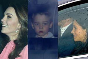 Rozpromieniona Kate, uśmiechnięta Meghan i strapiony książę George jadą na świąteczny lunch do królowej Elżbiety (ZDJĘCIA)