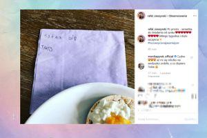 Cieszyński chwali się serwetką do śniadania od synka