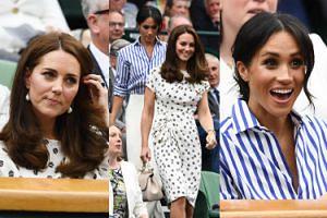 Przejęta Meghan Markle i zachowawcza Kate Middleton kibicują tenisistom na Wimbledonie (ZDJĘCIA)