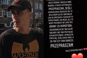 """Syn Nosowskiej przeprasza za swoje słowa: """"Nigdy nie chcę być brany za homofoba. Zachowałem się jak GŁUPI BACHOR"""""""