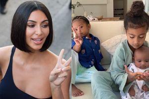 Kim Kardashian chwali się dziećmi! Złowrogie miny North i Sainta rozbawiły internautów (FOTO)