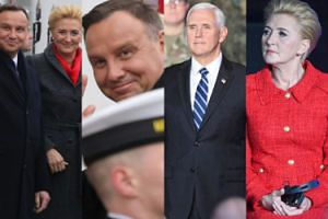Zadowolony Andrzej i elegancka Agata Dudowie witają wiceprezydenta USA w Warszawie (ZDJĘCIA)