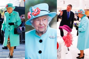 Turkusowa królowa Elżbieta wybiera kapelusze w galerii handlowej (ZDJĘCIA)