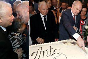 Jarosław Kaczyński nadzoruje krojenie tortu na 70. urodzinach Macierewicza (ZDJĘCIA)