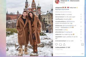 Krychowiak i Celia pozują w futrach na tle Moskwy