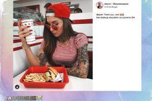 Łakoma Deynn pałaszuje urodzinowego burgera