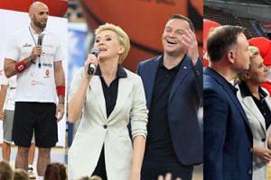 Roześmiani Dudowie na otwarciu letniego obozu koszykarskiego Marcina Gortata (ZDJĘCIA)