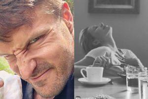 """Zaradny Stramowski dogadza żonie kawusią i śniadankiem. Zrobił też """"artystyczne"""" zdjęcie. SMACZNIE?"""