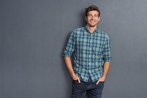 23880e38f7fcc Męskie koszule w kratę idealne do dżinsów; Klasyczna czarna marynarka ...