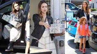 Jessica Alba w zaawansowanej ciąży idzie z córkami na urodziny (ZDJĘCIA)