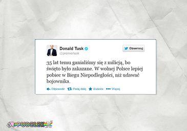 Donald Tusk o świętujących niepodległość