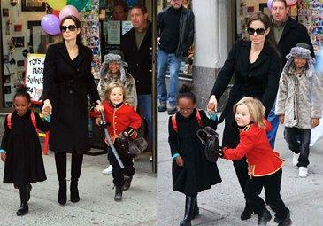 Angelina z córkami na zakupach
