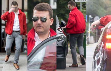 """Wypielęgnowany Bartłomiej Misiewicz opuszcza Studio Urody """"Grażyna"""" i wsiada do Mercedesa za 150 tysięcy (ZDJĘCIA)"""