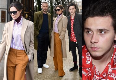 Wystylizowani Beckhamowie z synem lansują się na pokazach w Paryżu (ZDJĘCIA)