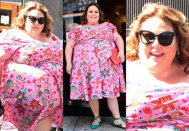 Promienna Chrissy Metz odsłania zgrabne łydki w letniej sukience (ZDJĘCIA)