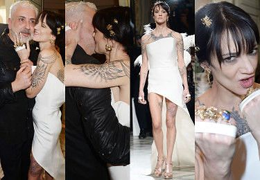 Asia Argento obściskuje się z projektantem za kulisami paryskiego pokazu. Już nie rozpacza po Bourdainie? (ZDJĘCIA)